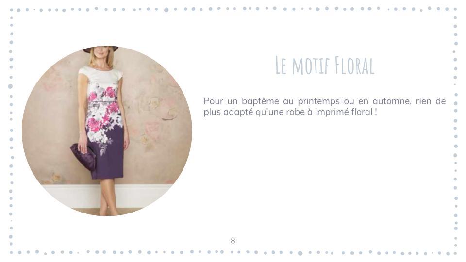 Quelle robe pour un baptême femme : robe à motif floral